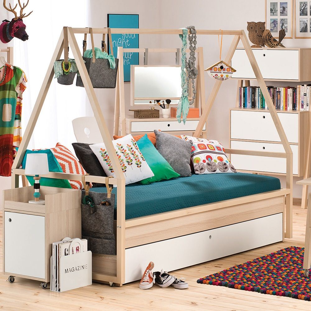 Kids Bedroom House spot kids tipi bed & trolley frame with trundle drawer | boys nest
