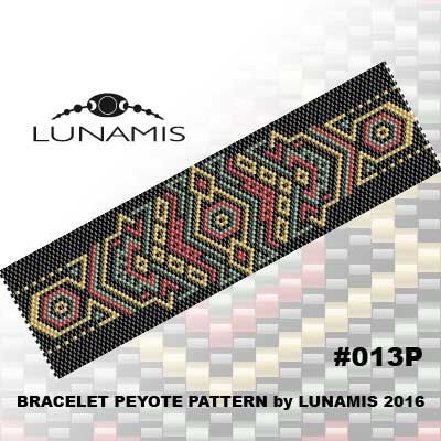 Bracelet peyote patterns made with size 11\/0 Miyuki Delica seed - triangular graph paper