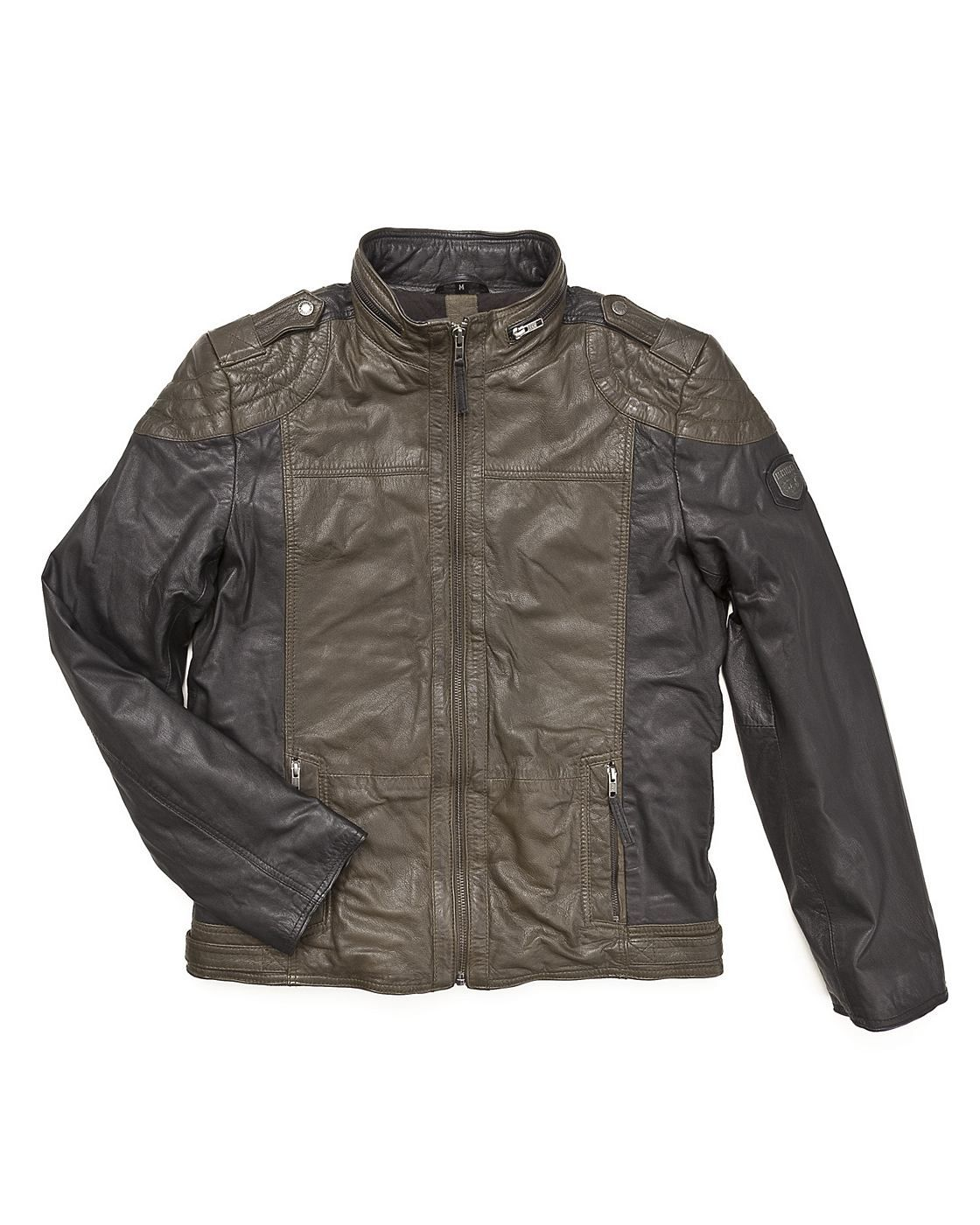 Lederjacke, Herren Kingsbury Coole Lederjacke von Mustang. Diese Jacke im  Bikerstyle besitzt zwei Reißverschlusstaschen b0e9261844
