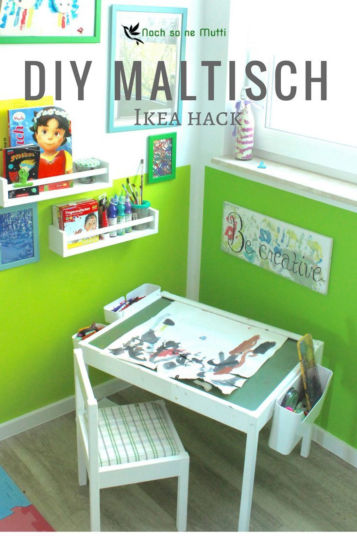 diy maltisch im kinderzimmer malecke nach montessori ikea hack basteln mit kindern pinterest. Black Bedroom Furniture Sets. Home Design Ideas
