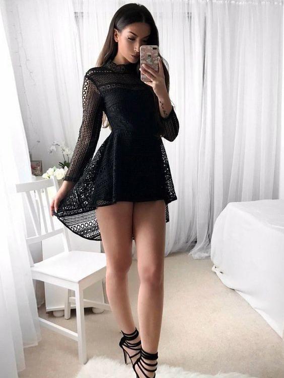 Little Black Dress Long Sleeve Homecoming Dresses Short Prom Dress