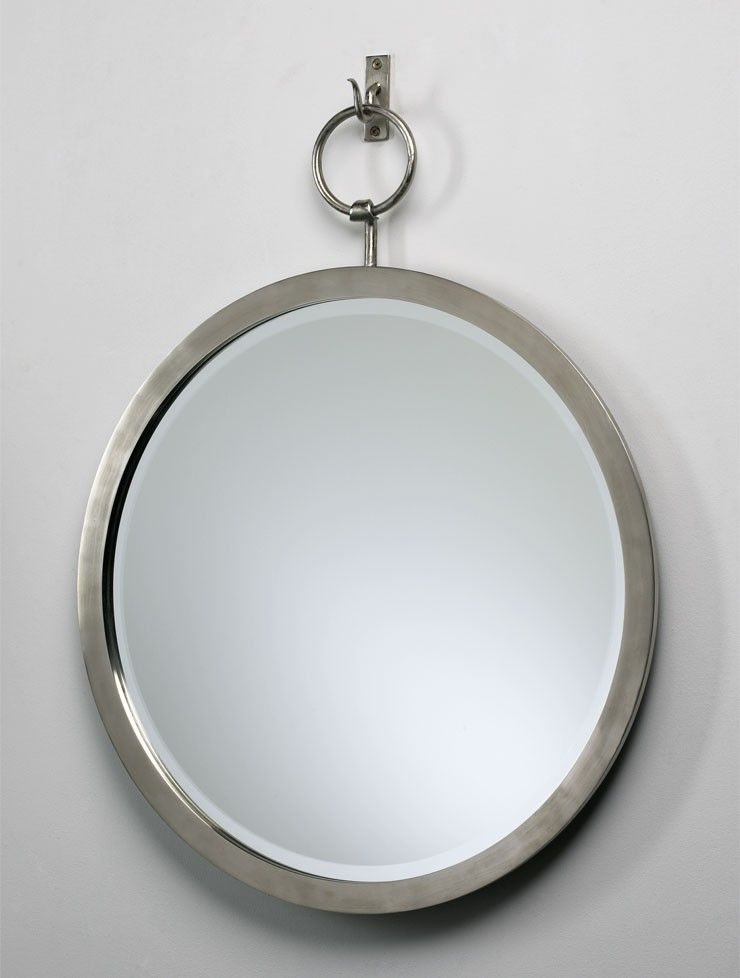 Round Hanging Mirror With Hooked Iron Frame In Polished