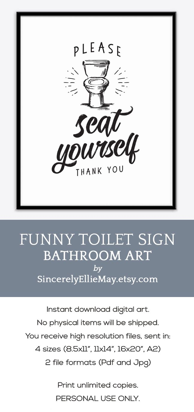 Toilet sign wall art please seat yourself thank you funny