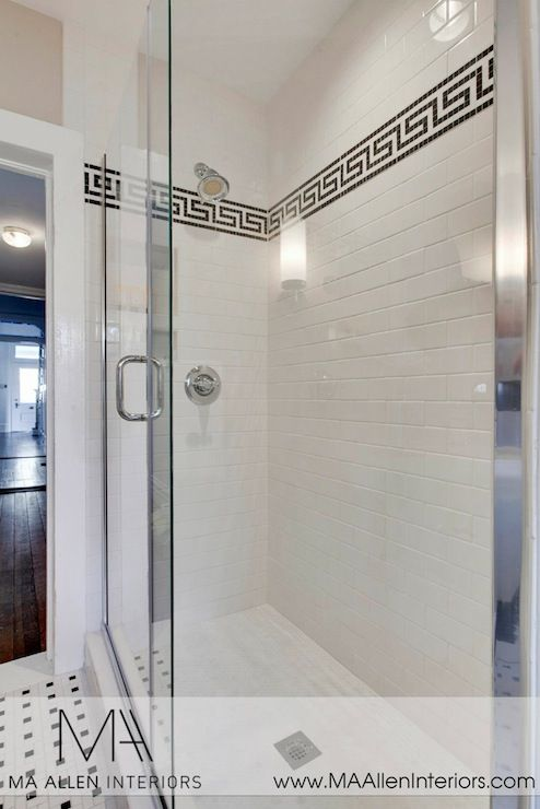 Tile Decorative Trim Subway Tile Shower Surround With Black Greek Key  Tile