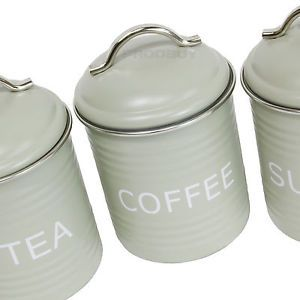 Vintage Sage Green Enamel Tea Coffee Sugar Kitchen Storage Jars Canisters  Pots