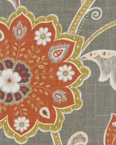 Ankara In Mink By Braemore Grey Gray Fabric With Orange