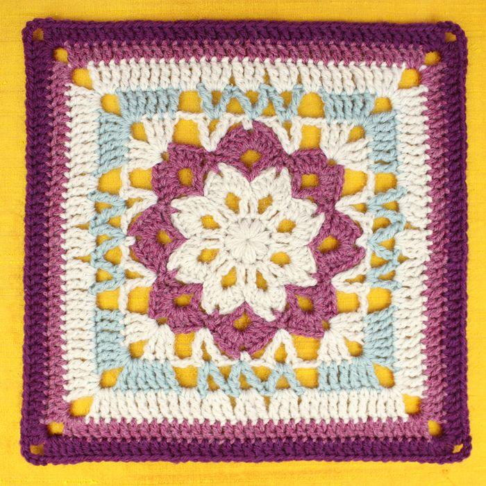 Free Crochet Pattern: Floral Kaleidoscope Afghan Square | Gleeful ...