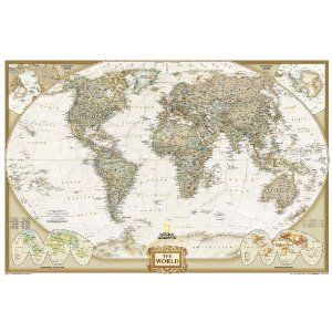 World Executive Poster Sized Wall Map (Tubed World Map)