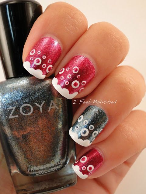 Bubble Nails: Pink & Gray Metallic Nails With White Bubbles Nails