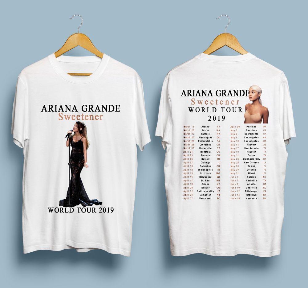 New Ariana Grande World Tour 2019 White T Shirt Gildan S 3xl