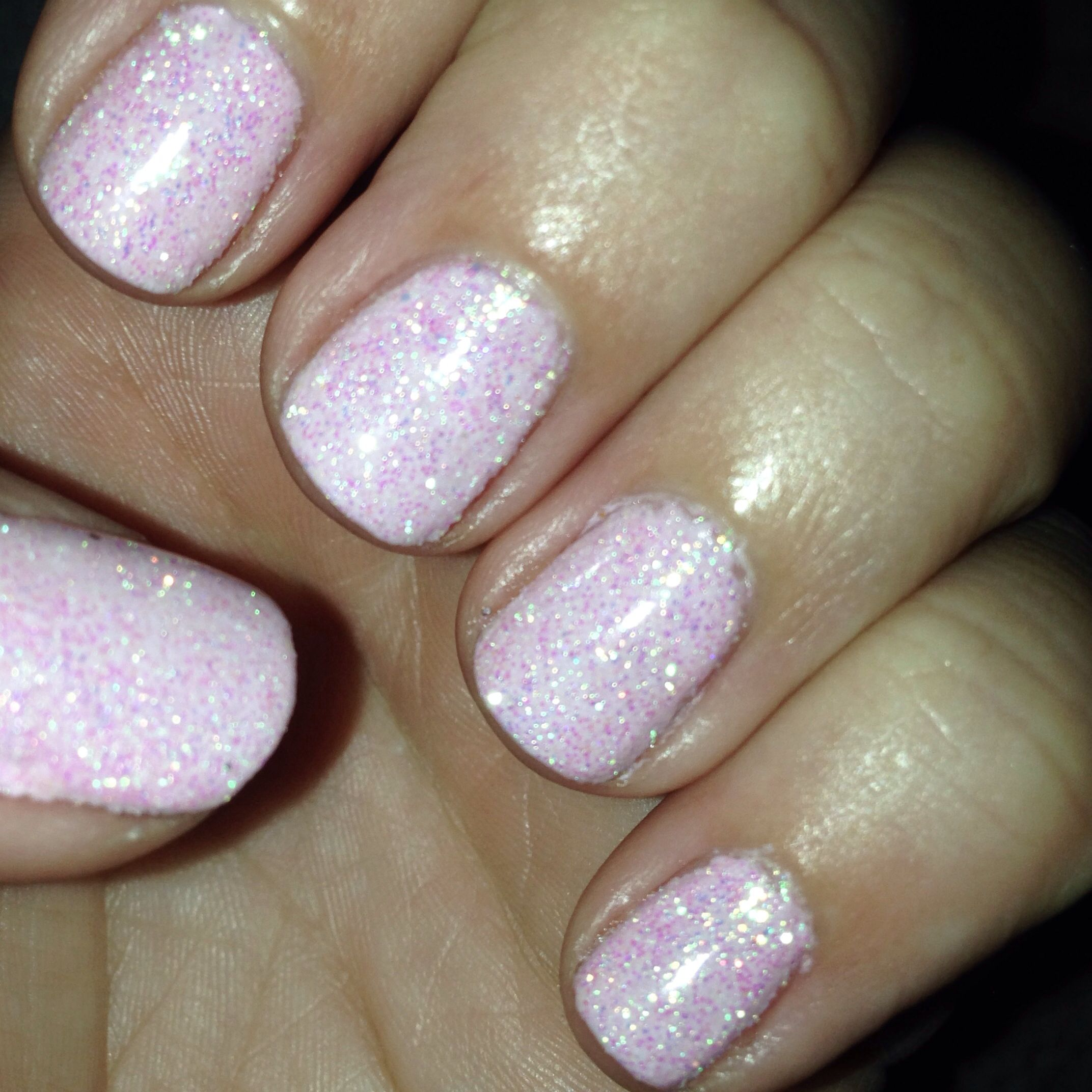 Baby pink CND cake pop with Martha Stewart loose glitter to create ...