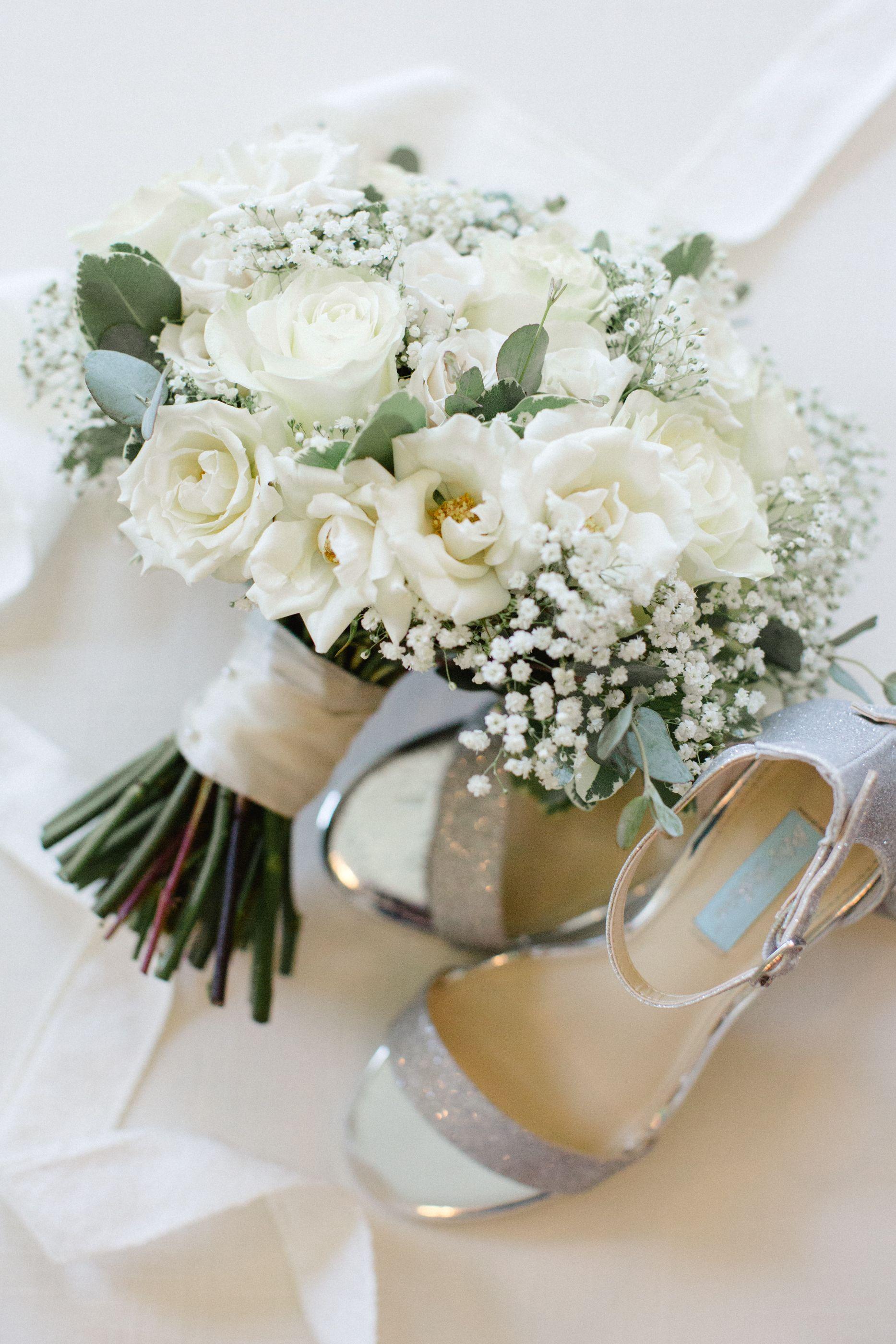 Jordan Denike Photography L White Wedding Bouquet And Silver Shoes L Wedding Detail White Rose Wedding Bouquet White Rose Bridal Bouquet White Wedding Bouquets