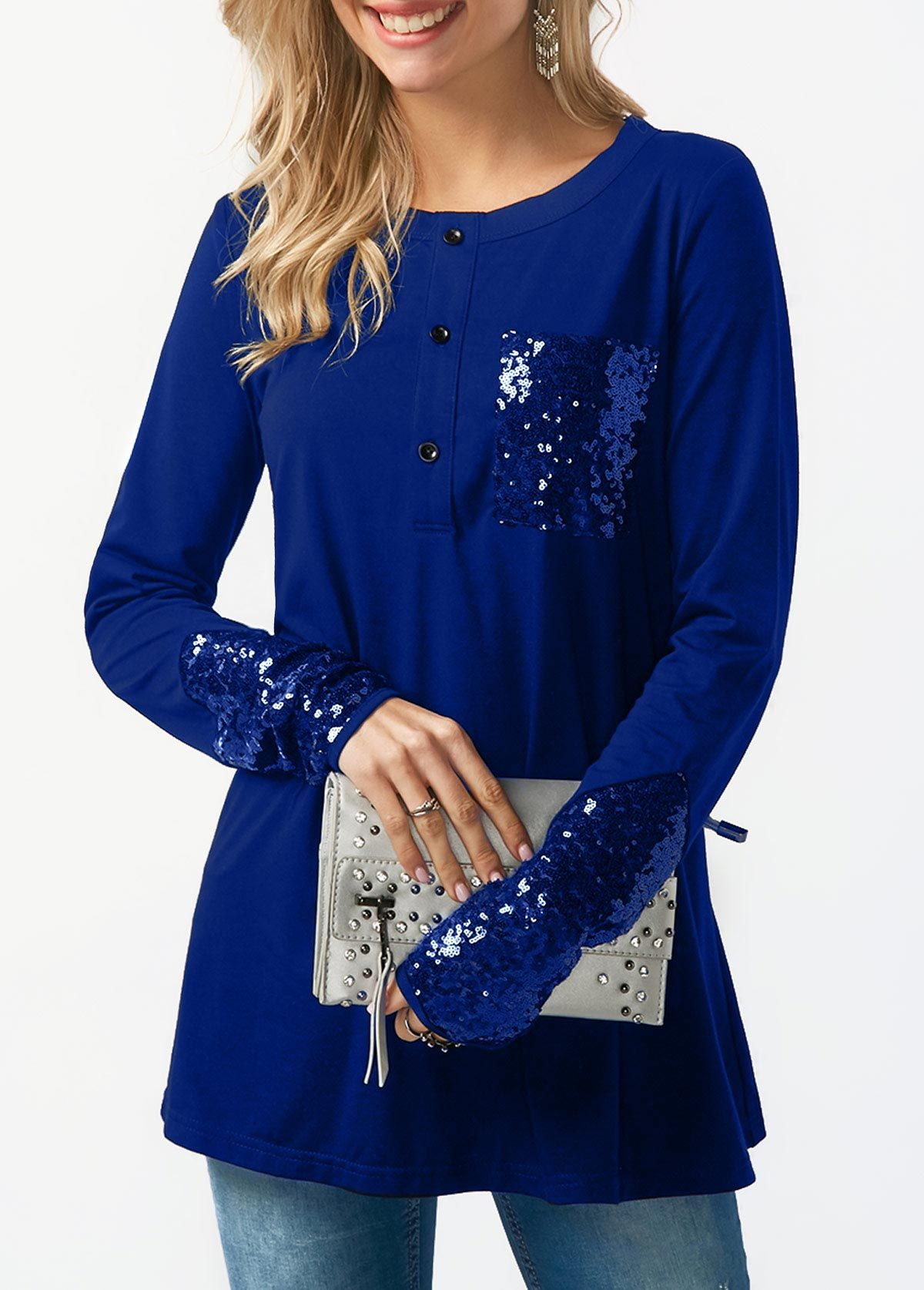 b64aa42f739 Button Neck Long Sleeve Royal Blue T Shirt