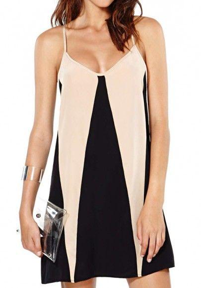 Black Colorful Sleeveless Polyester Mini Dress