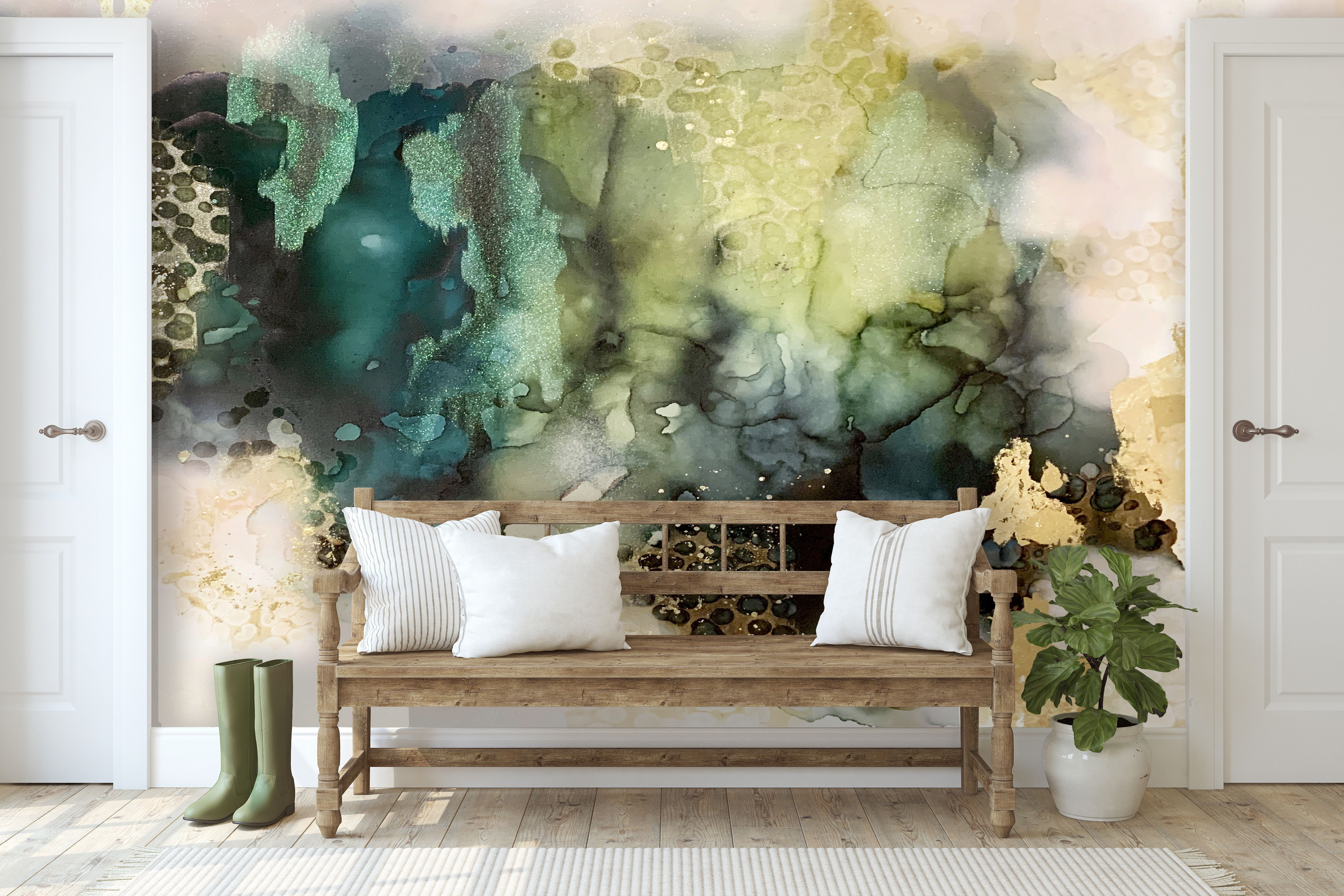 Emerald Storm Wall Mural 9' tall x 10' wide (With images