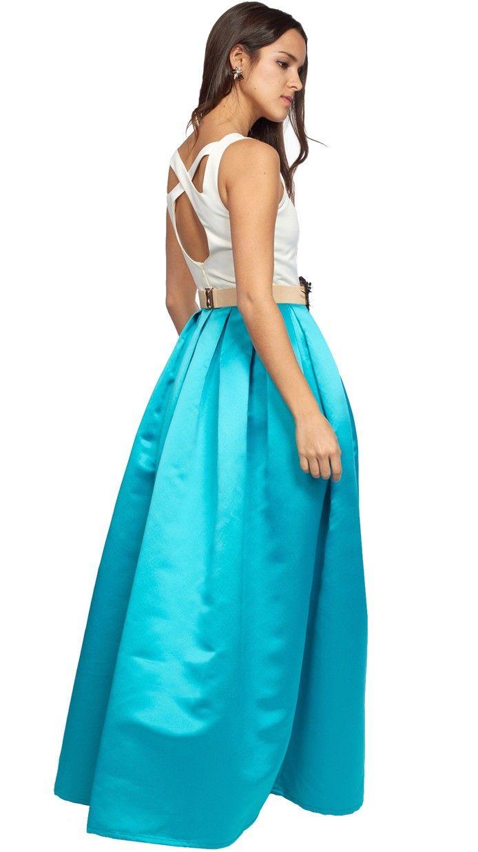 vestido largo con falda de vuelo en azul turquesa para invitada ...