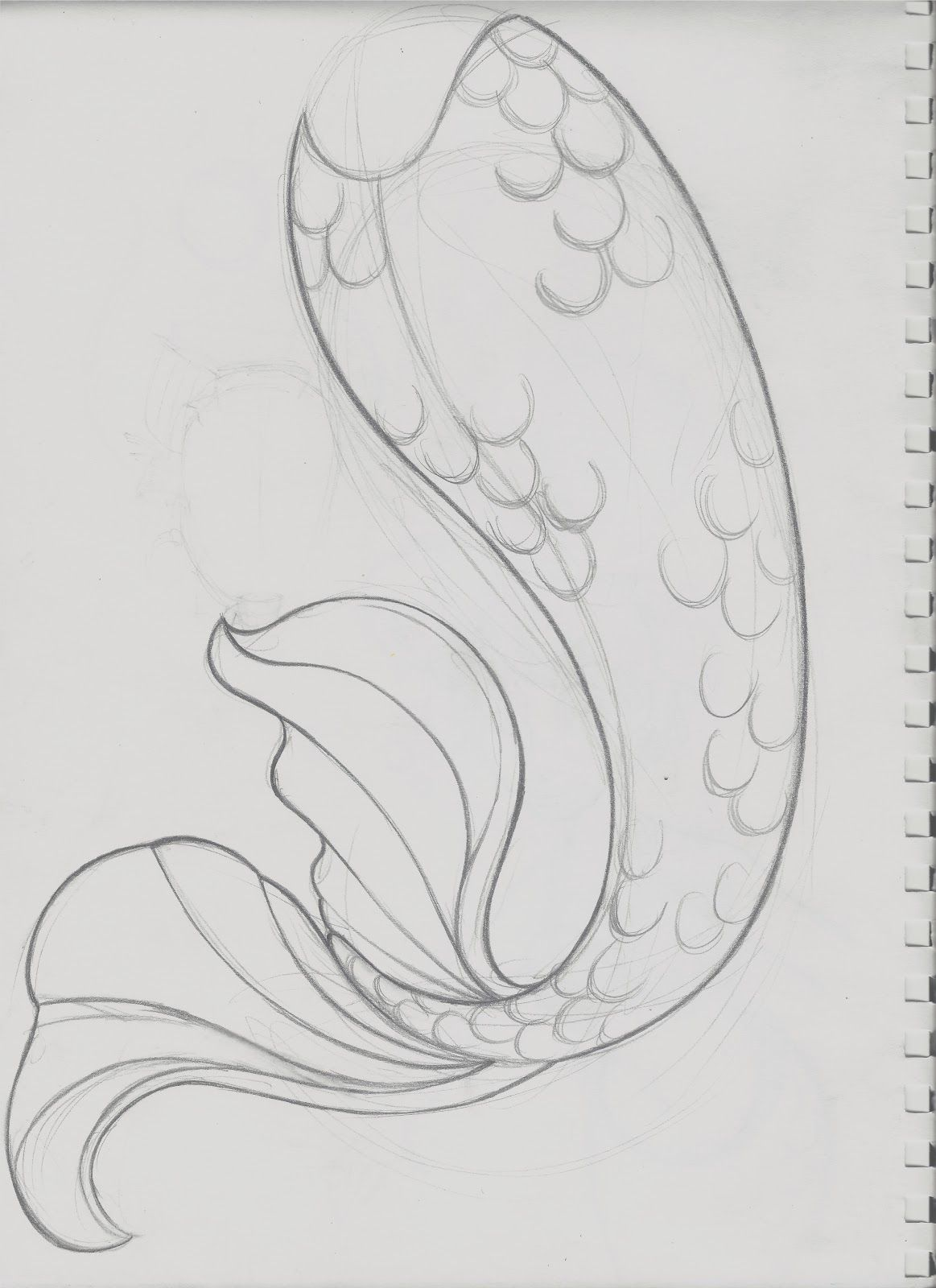 mermaid outline template | After having scanned the image, I aligned ...