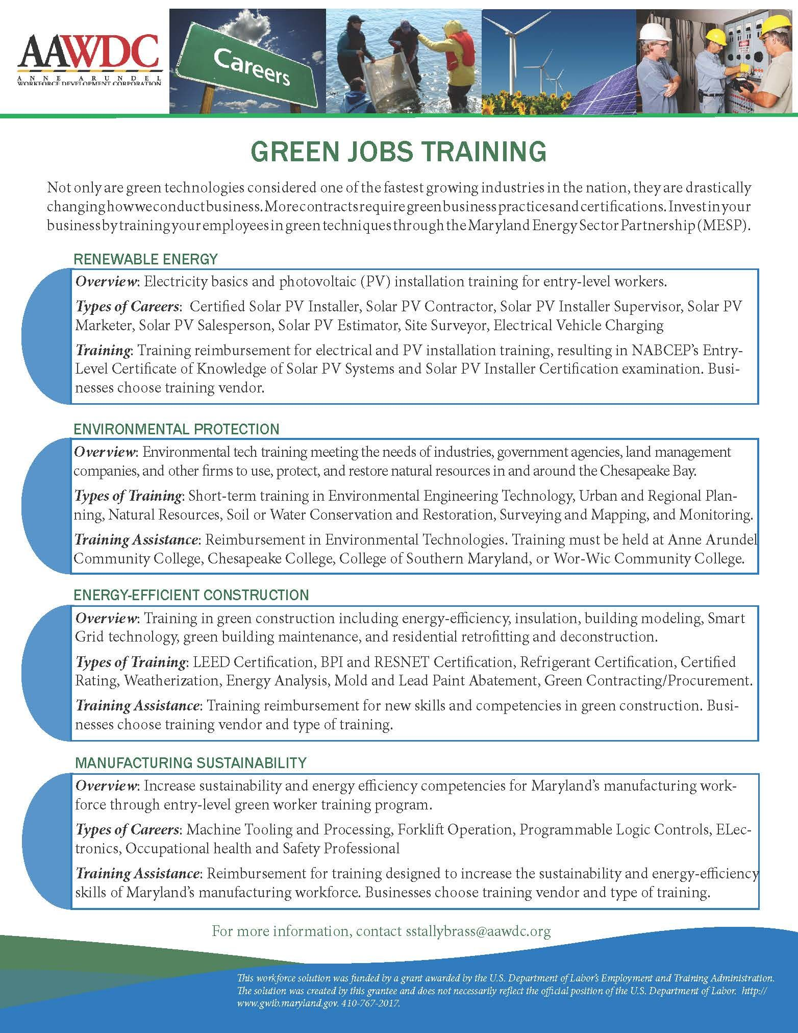 A Flyer I Designed To Promote Green Jobs Training To Businesses
