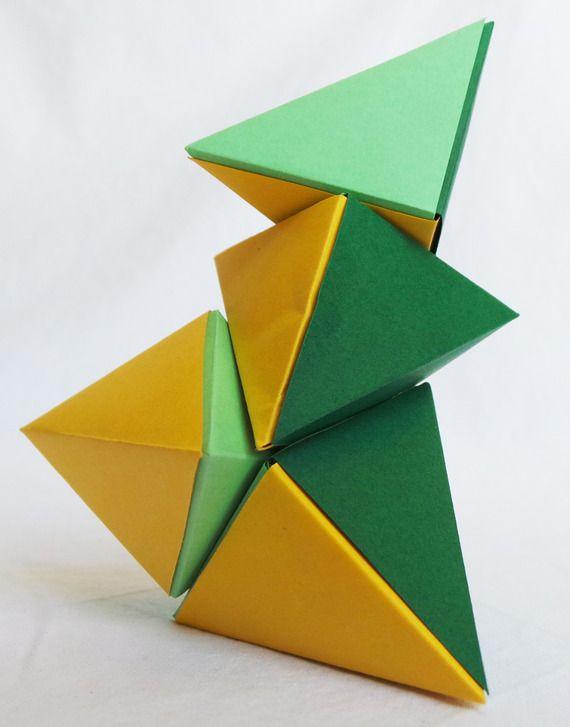 Casse tête Magnet Petit format en Origami: Les Tétraèdres magnétiques, citron, menthe et pastel