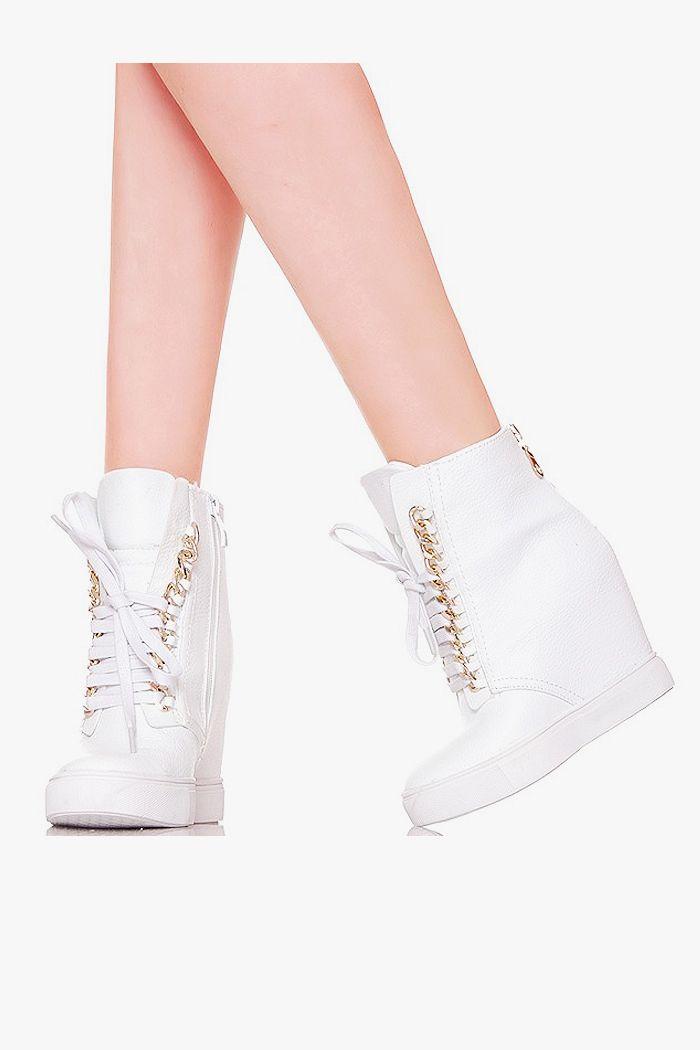 Sneakersy Biale Zlote Lancuchy Koturn Heeled Mules Shoes Heels
