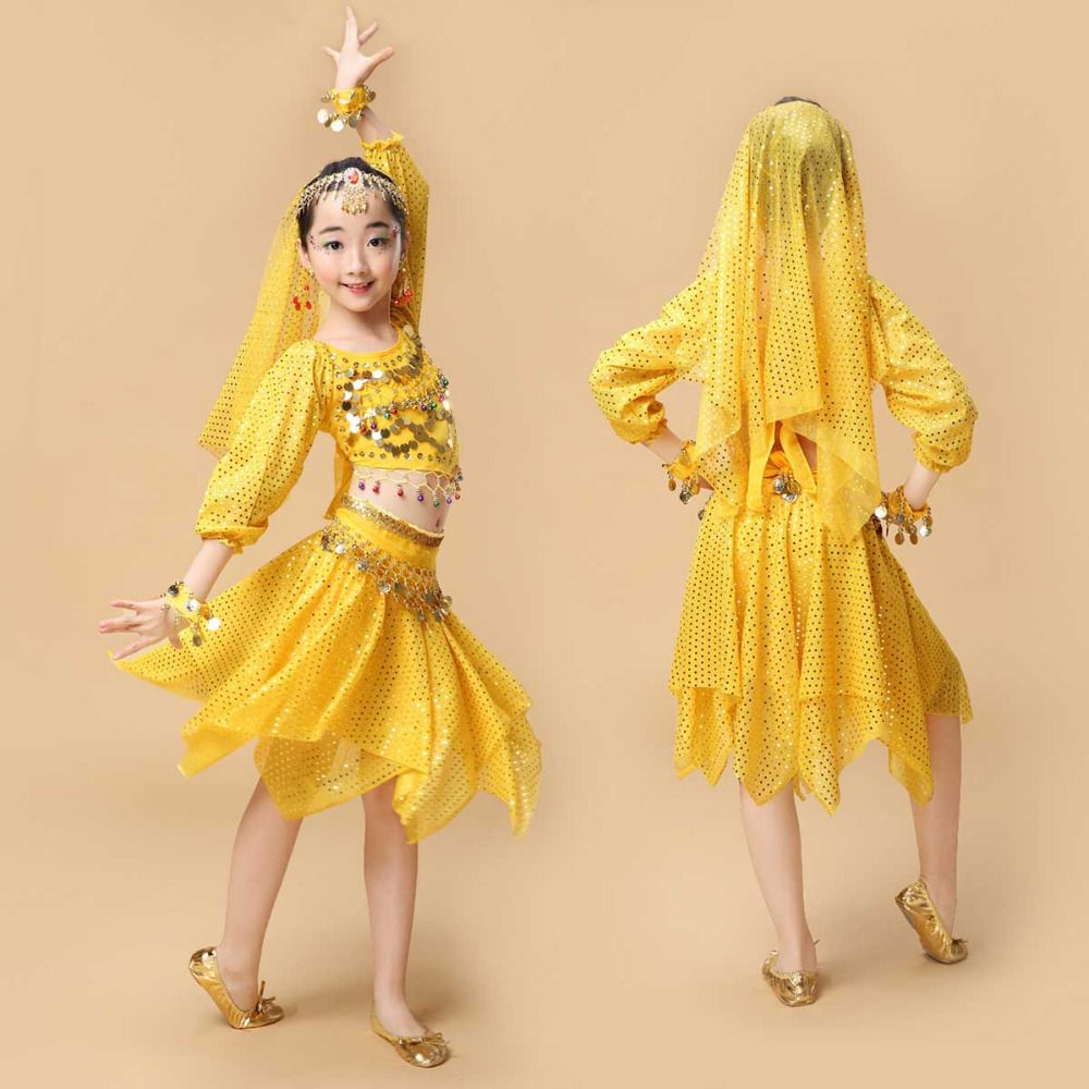 e86fc8a3f Quality Indian Sari Girls Dress Orientale Enfant Indian Costumes For ...