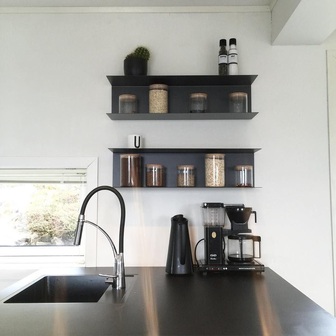 Ikea 39 botkyrka 39 wall shelves in black kubehus kitchens for Kitchen black wall