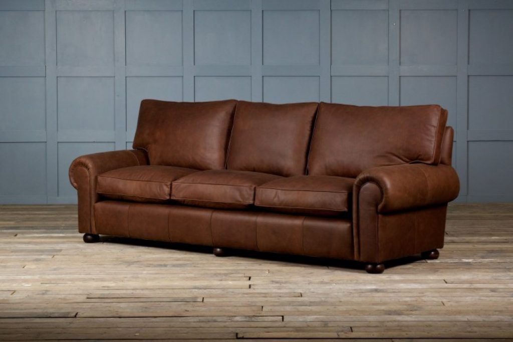 Awesome Brown Full Grain Leather Sofa Combined White