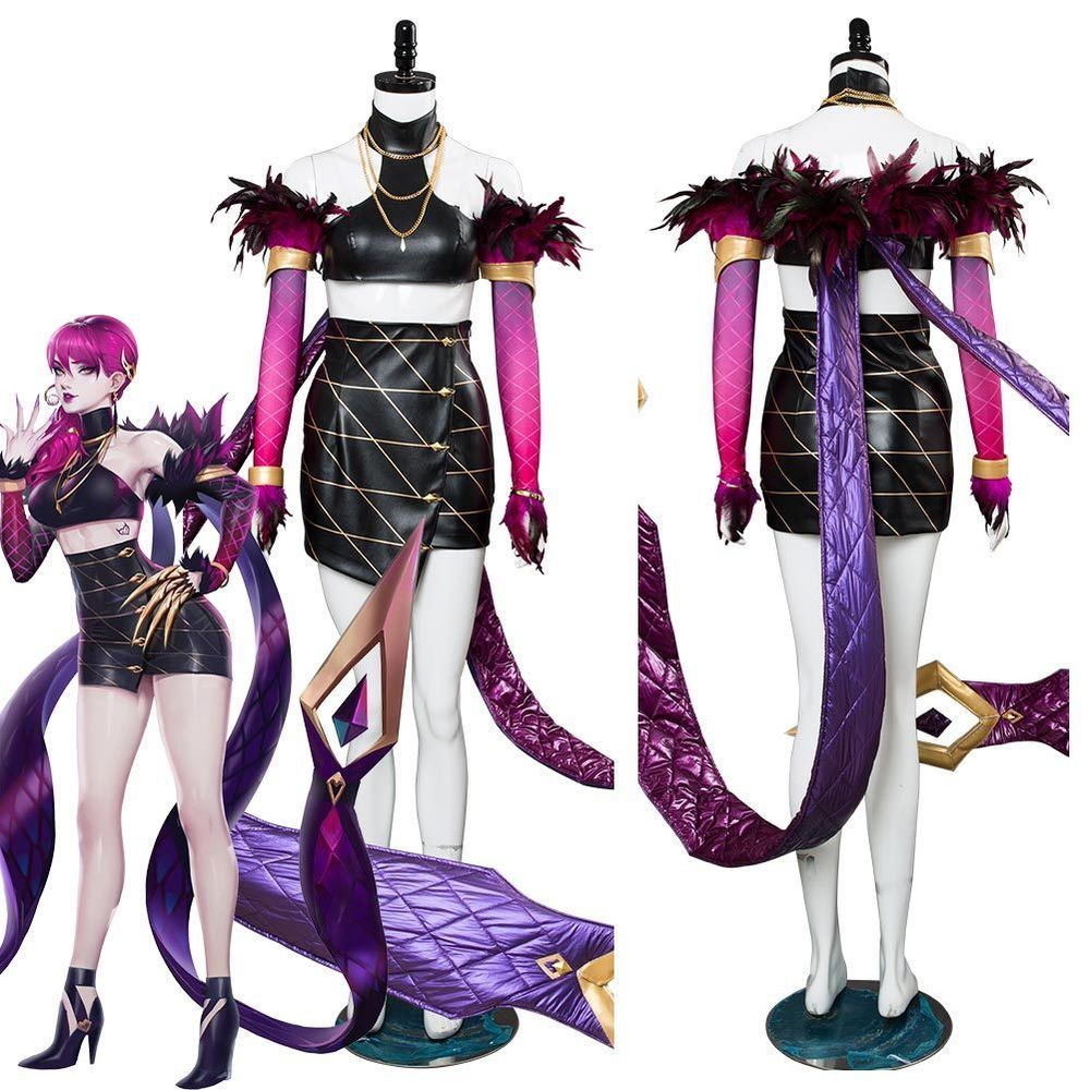 LOL League of Legends Jinx Cosplay Costume Outfit Christmas Dress Hat Full Sets