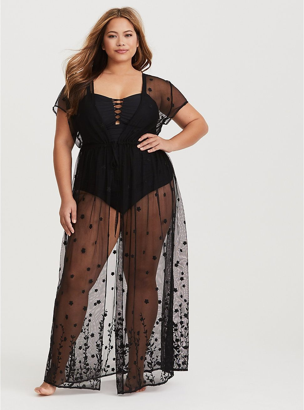 6b352b1674534 Black Sheer Mesh Maxi Cover Up in 2019 | Wear | Plus size swimsuits ...