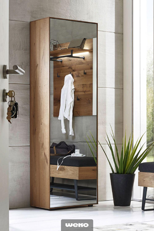 Moderner Hochschrank Mit Spiegelfront In Kerneiche Diele Flur