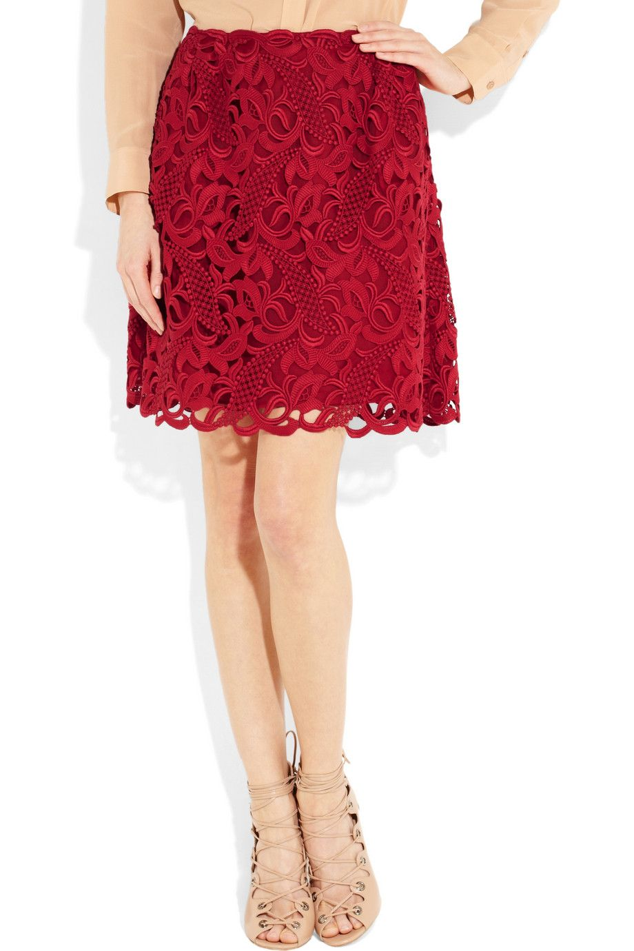 This skirt embodies the two things Valentino is known for: Lace & incredible saturated reds