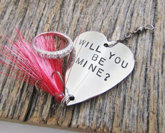 Valentines Jewelry For Her Valentine Proposal Will You Be My Valentine Prop  Engagement Proposal Fishing Lure