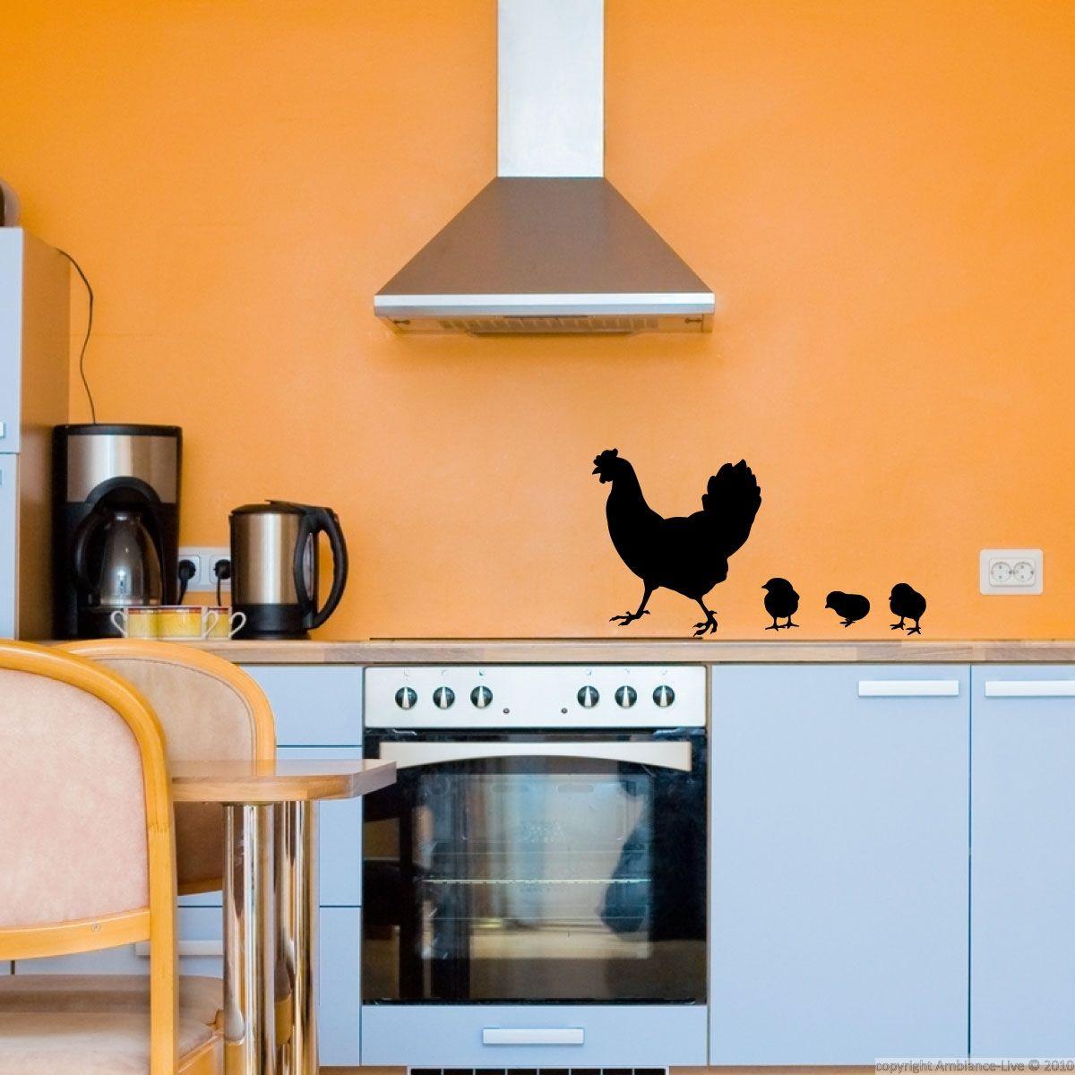 Stickers Muraux Pour La Cuisine Sticker Poule Et Poulet - Poule deco cuisine pour idees de deco de cuisine