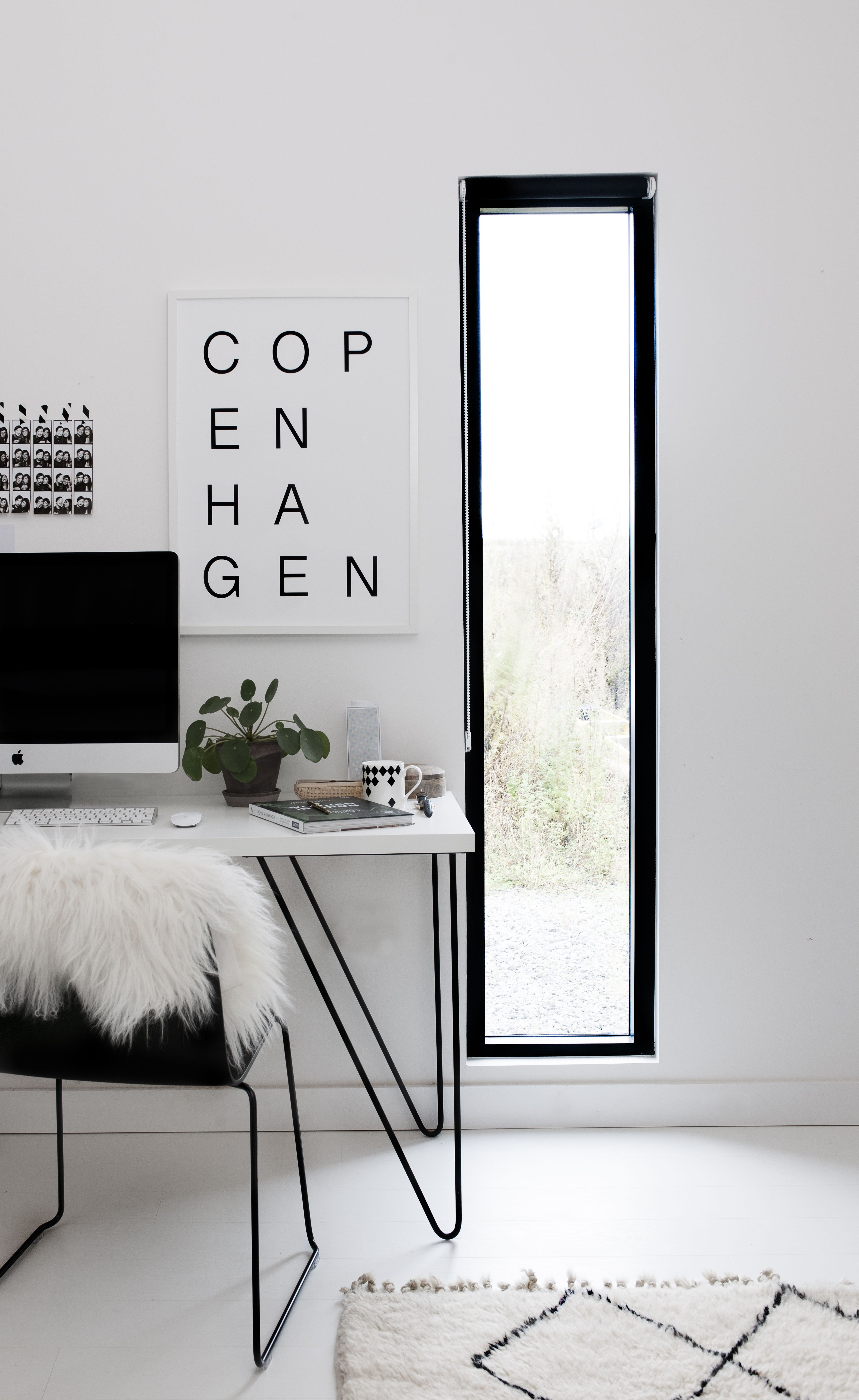 Copenhagen Black And White Print By SOOuK   Scandinavian Workspace With  Berber Rug And Sheepskin