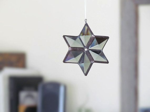 Star Ornament Gray Beveled Stained Glass 3d Star By Snlcreations