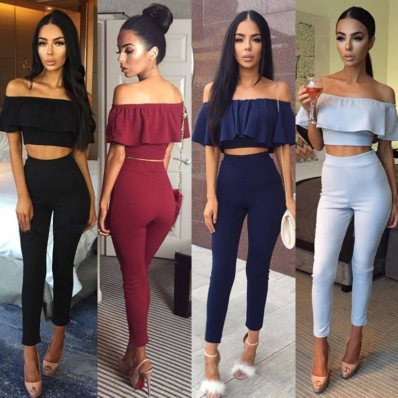 a6d220c1a73 Women Crop Top Blouse + Pants Two-Piece Playsuit Bodysuit Jumpsuit Romper  Set