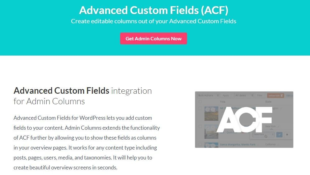 Admin Columns Pro Advanced Custom Fields Acf Addon V2 5 4