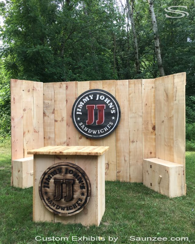 Trade Show Booth Walls : Custom timber wood trade show booths exhibits rustic