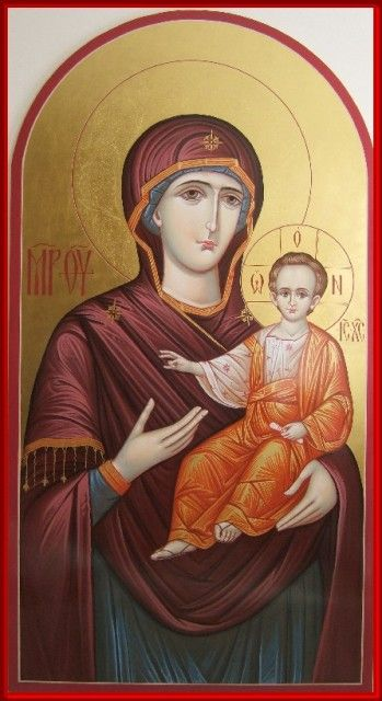 Mother of God hand painted icon by Peter Dzyuba.