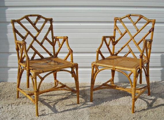 Attractive Vintage Chippendale Bamboo Rattan Chairs McGuire Style Hollywood Regency  Set Of 4