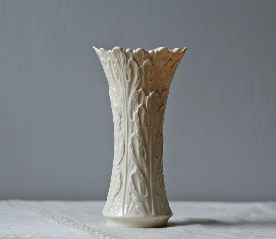 White Porcelain Lenox Vase Leaf Pattern White Porcelain Porcelain