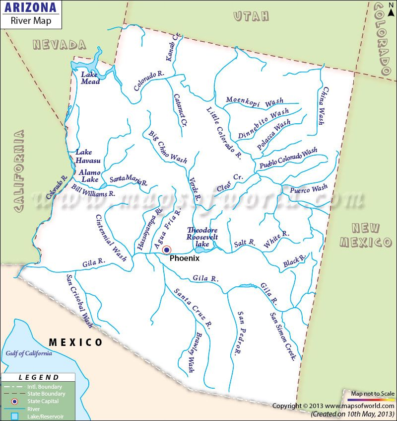 Map Of Arizona Rivers.Map Showing The Rivers And Lakes Are In Arizona Arizona Arizona
