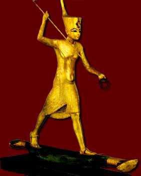 Tutankhamen spearing an (imaginary) hippopotamus. Pharaoh's victory over chaos to maintain Ma'at.