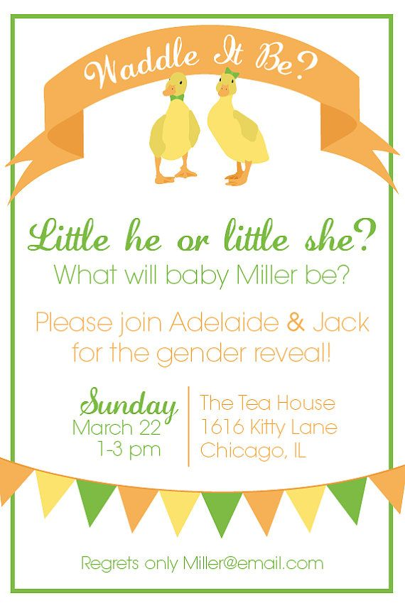 Waddle It Be? Printable Gender Reveal Party Invitation | Birthdays ...