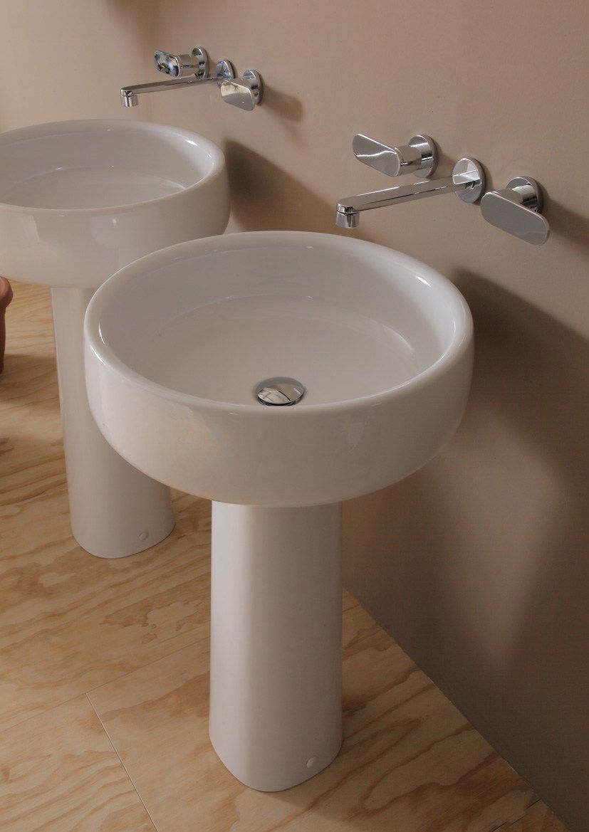Lavabo A Colonna Design lavabo rotondo in ceramica su colonna bonola 50 | lavabo su