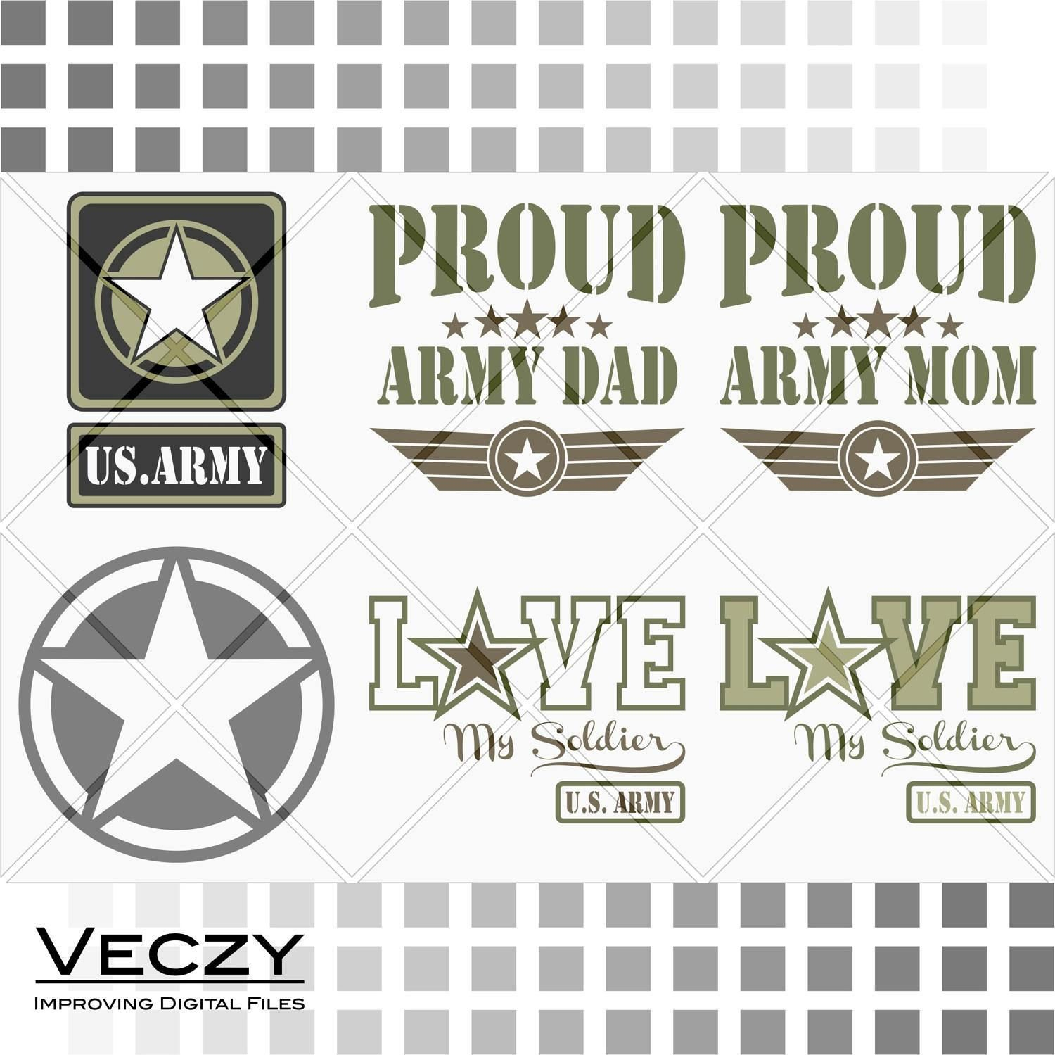 Proud US Army Mom /& Dad Military Family in SVG Files
