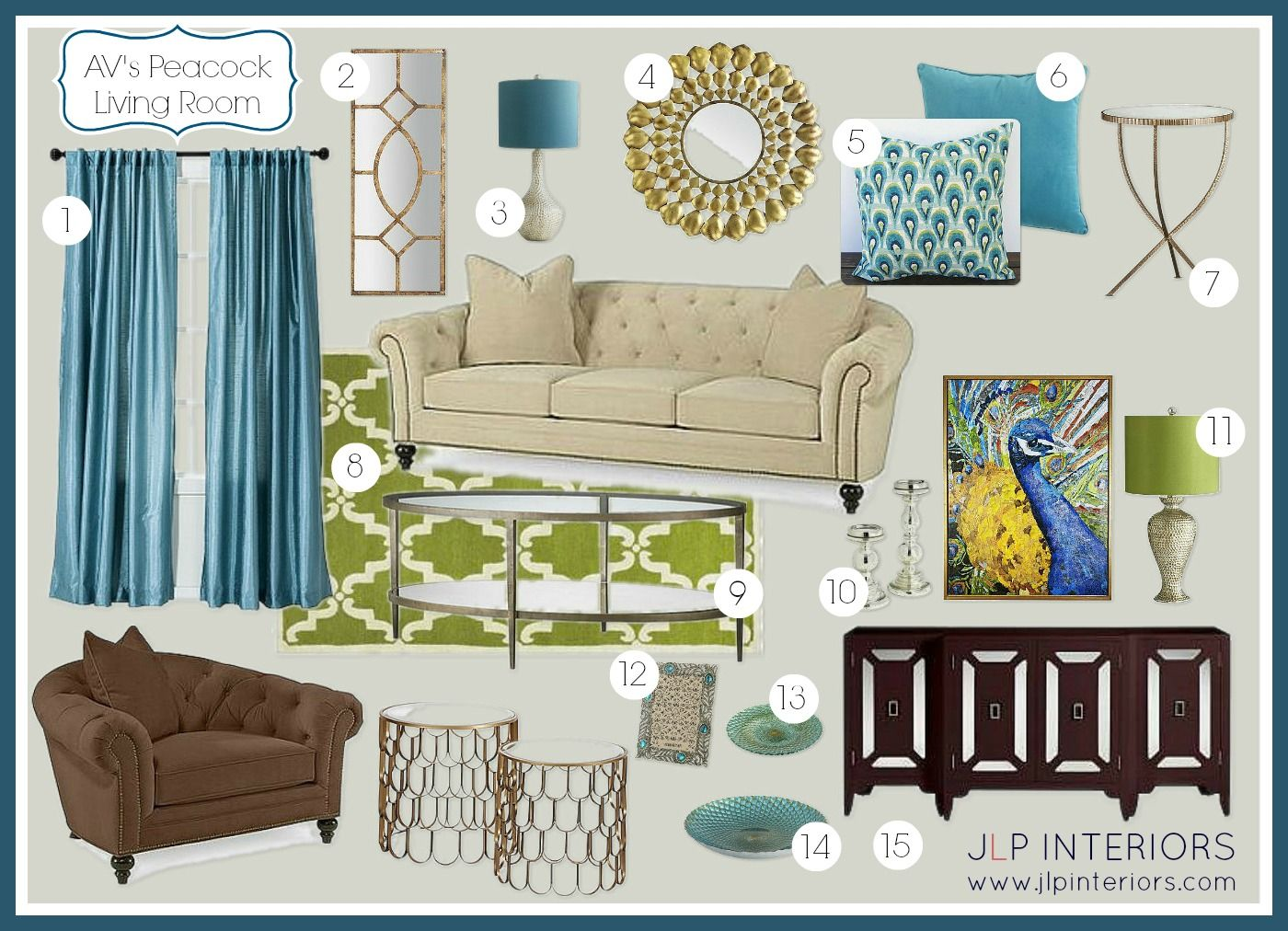 Home With Baxter E Design A Peacock Inspired Living Room Peacock Living Room Family Room Design Retro Living Rooms #peacock #theme #living #room