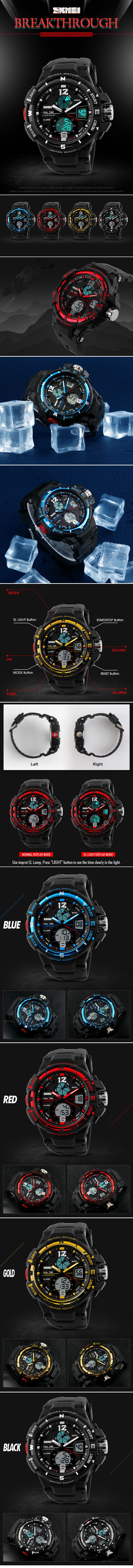 skmei 1148 analog digital dual time chronograph waterproof men skmei 1148 analog digital dual time chronograph waterproof men sport watch at banggood