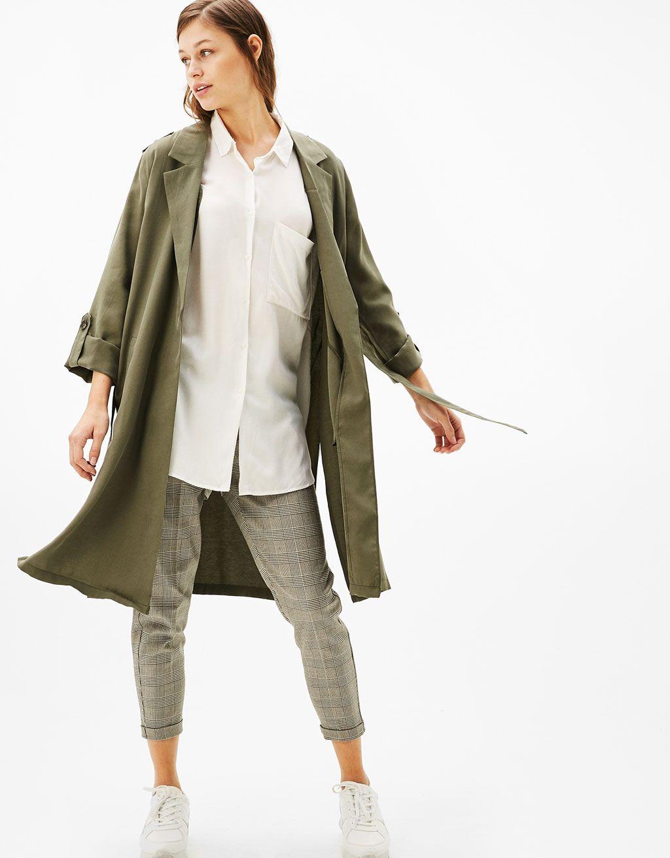 Gabardina Larga Soft Cinturon Novedades Bershka Espana Ref 1387 200 Jackets Clothes Trench Coat [ 1313 x 1024 Pixel ]
