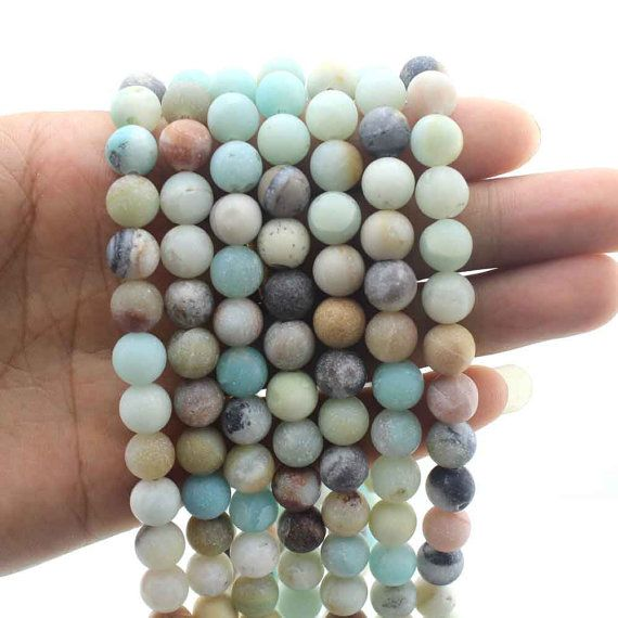 15% Amazonite Beads Natural gemstone Round Beads by EllenDIYBeads